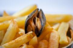 Cozze e patate fritte cotte a vapore fotografia stock libera da diritti