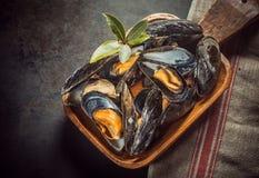 Cozze marine di recente cucinate deliziose Immagini Stock Libere da Diritti