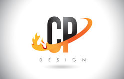 CP C P Letter Logo with Fire Flames Design and Orange Swoosh. CP C P Letter Logo Design with Fire Flames and Orange Swoosh Vector Illustration Royalty Free Stock Photos