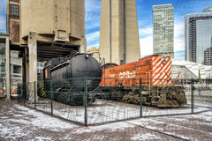 CP rail engine and oil car Stock Photography