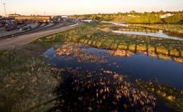 CP rail trainyard. Moose Jaw Saskatchewan marshes Royalty Free Stock Images