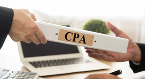 Cpa. Certified public accountant CPA folder with Control Board Auditing Practices Stock Images