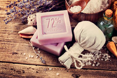 CPA concept. Lavender soap on an old wooden table Stock Photo