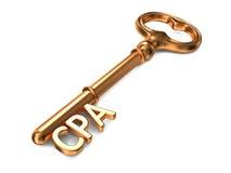 CPA - goldener Schlüssel. Stockbild