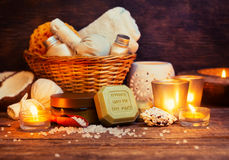 CPA still life, olive oil soap, candles Stock Photos