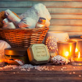CPA still life. Olive oil soap and candles on wooden table Royalty Free Stock Photo