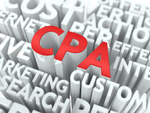CPA. The Wordcloud Concept. CPA - Critical Path Analysis Wordcloud Concept. The Word in Red Color, Surrounded by a Cloud of Words Gray Stock Photography
