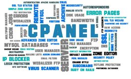 Cpanel webserver administration word cloud. A word cloud of cpanel server administration on white background stock photo Royalty Free Stock Images