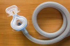 CPAP面具和水管 免版税库存照片