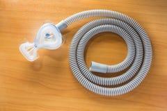 CPAP水管和面具 库存图片