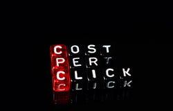 Cpc-Kosten pro klicken an Schwarzes stockfoto