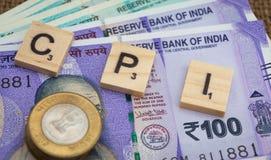 CPI与印度货币的零售价指数词 免版税库存照片