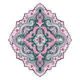 Cópia indiana boêmia de toalha da mandala Estilo da tatuagem da hena do vintage Imagem de Stock Royalty Free