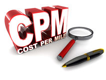 Cpm cost per mile. Pay per impression or cpm, cost per mile is display advertising model for online ad display Stock Photography