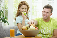 Cpople eating apple Stock Photography