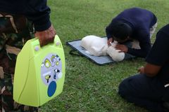 CPR and AED training for Rescue and first aid stock photography