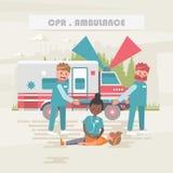 CPR ambulant Medicinskt vektorbegrepp Sjukvård- och behandlingillustration stock illustrationer
