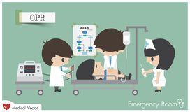 CPR Cardiopulmonary Resuscitation in emergency room . Medical team resuscitate cardiac arrest patient by chest compression , defibrillation and medicine vector illustration