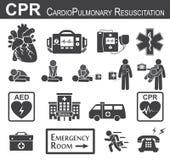 CPR (Cardiopulmonary resuscitation) ikona royalty ilustracja