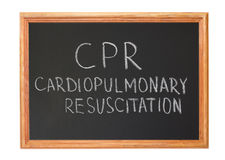 CPR-cardiopulmonary resuscitation. Written in white chalk on a blackboard - CPR-cardiopulmonary resuscitation royalty free stock photos
