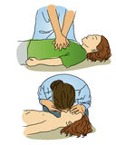 CPR for children. First aid for children in emergency case vector illustration