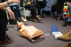 CPR course using automated external defibrillator device, AED. royalty free stock images