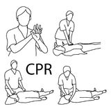 CPR demonstration first aid vector illustration sketch hand draw. N with black lines, isolated on white background Royalty Free Stock Images