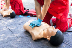 CPR. First aid training concept. Cardiac massage. Royalty Free Stock Photos