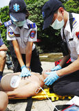 CPR Help. Fire and Rescue emergency team conducting a CPR in a drill on July 3, 2011 in Taipei Royalty Free Stock Photo
