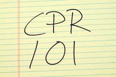 CPR 101 på ett gult lagligt block Royaltyfri Foto