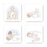 CPR procedure. Cardiomanipulatory resuscitation procedure, fours steps on white background Royalty Free Stock Image