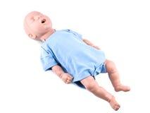 Cpr que traning o manequim infantil no branco Imagens de Stock Royalty Free