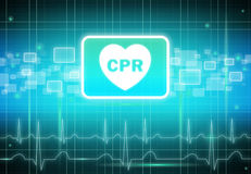 CPR sign on virtual screen Stock Image