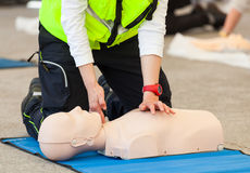 CPR training with dummy Royalty Free Stock Image