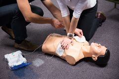 First Aid Training. Defibrillator CPR Practice royalty free stock photography
