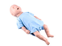 Cpr traning infant dummy on white Royalty Free Stock Images