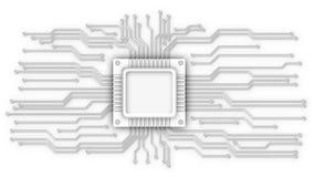 CPU和电路线 库存图片
