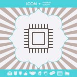 CPU标志象 您的设计的图表元素 库存图片