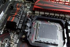 CPU的一个地方和在主板ASUS的桥梁关闭 免版税库存照片