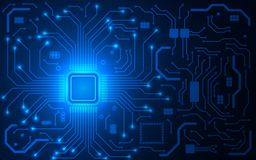 CPU芯片和电路板 蓝色微处理器背景 蓝色接近的颜色计算机主板 明亮的连接 抽象光 皇族释放例证
