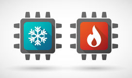 CPU象设置了与火和冰标志 库存图片