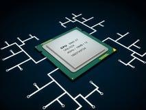 CPU à plusieurs noyaux moderne Photographie stock