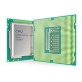 CPU à plusieurs noyaux moderne d'isolement sur le fond blanc illustration 3D Image libre de droits