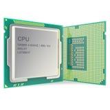 CPU à plusieurs noyaux moderne d'isolement sur le fond blanc illustration 3D Photos stock