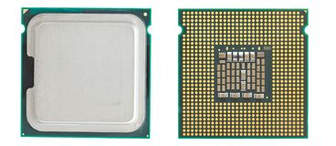 CPU. Two sides of a computer processor Stock Image