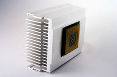 CPU. With metal cooler on white background Stock Photos