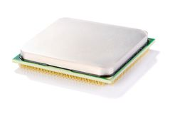 CPU 2. Central microprocessor with gold contacts Royalty Free Stock Photos