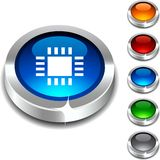 Cpu 3d button. Cpu 3d button set. Vector illustration Royalty Free Stock Image