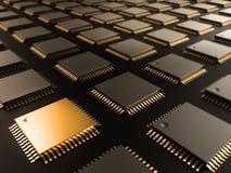 处理器(微集成电路)互联了获得和送信息 中心中央电路概念cpu将来的六角加工技术部件 免版税图库摄影