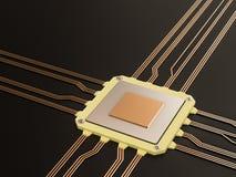 处理器(微集成电路)互联了获得和送信息 中心中央电路概念cpu将来的六角加工技术部件 免版税库存图片